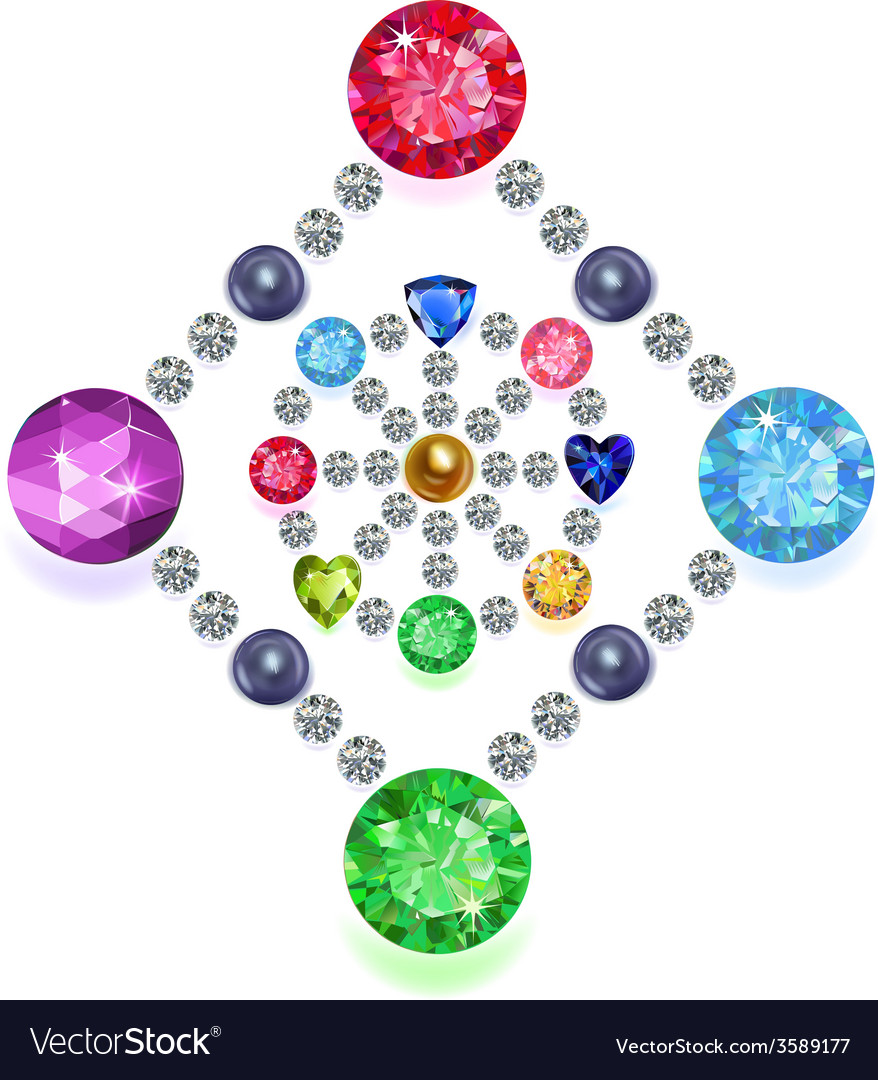 Rhombus-circle composition colored gems set vector | Price: 1 Credit (USD $1)