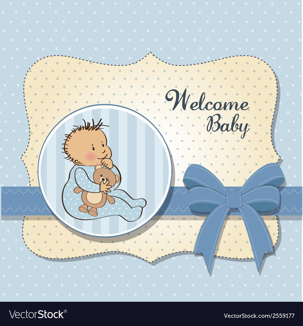 Romantic baby boy shower card vector   Price: 1 Credit (USD $1)