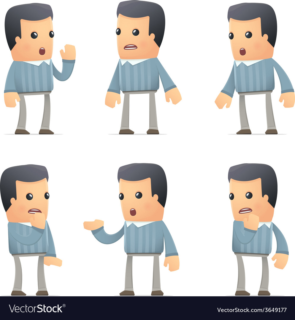 Set of customer character in different poses vector | Price: 3 Credit (USD $3)