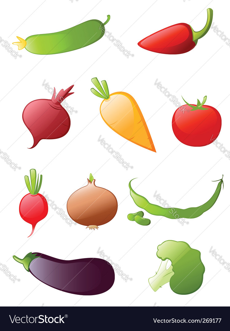 Vegetables icon set vector | Price: 1 Credit (USD $1)