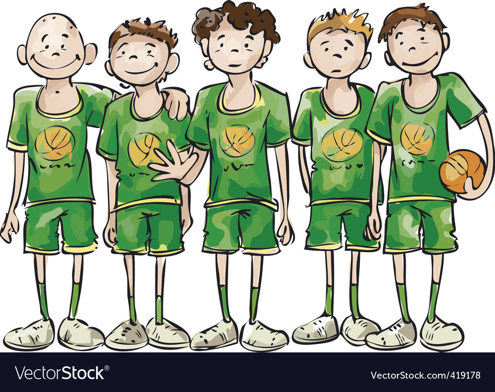 Basketball team vector | Price: 3 Credit (USD $3)