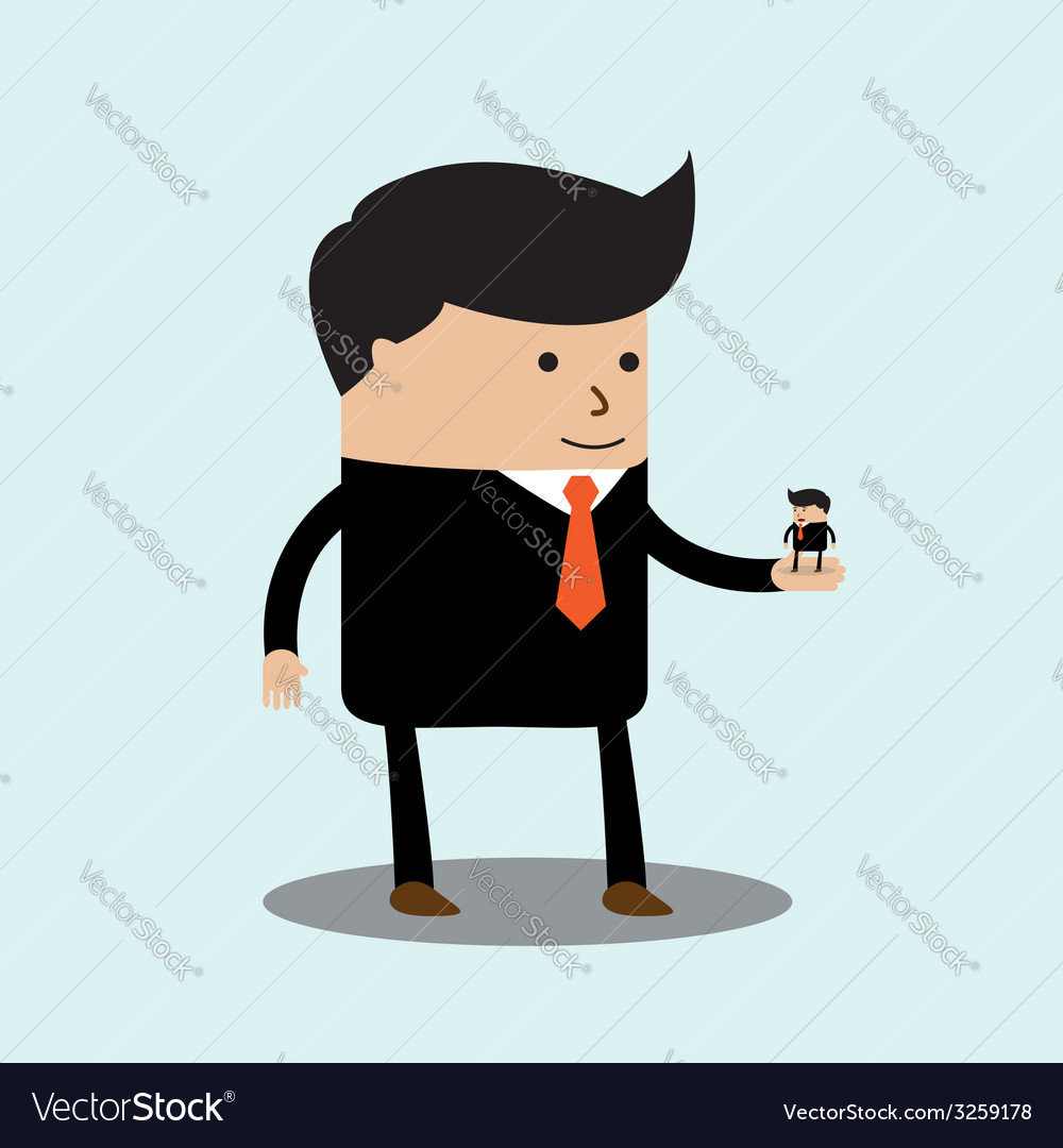 Big businessman has little businessmen in the palm vector | Price: 1 Credit (USD $1)