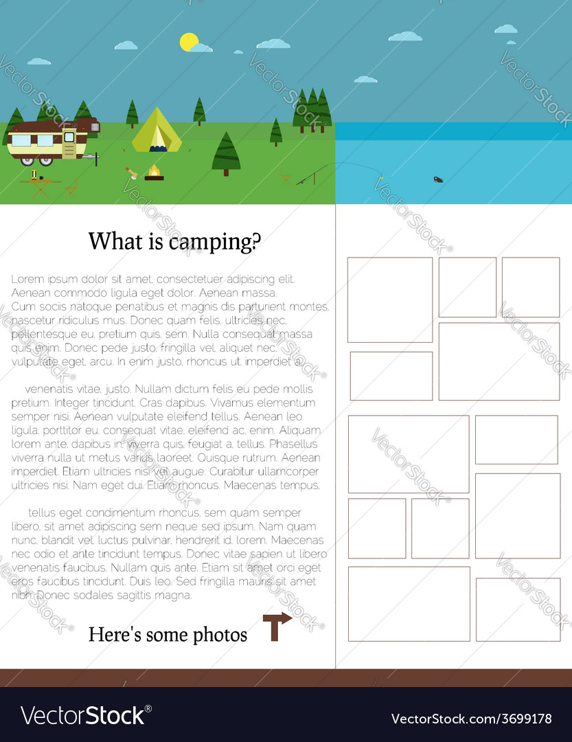 Camping template with text outdoors summer vector | Price: 1 Credit (USD $1)