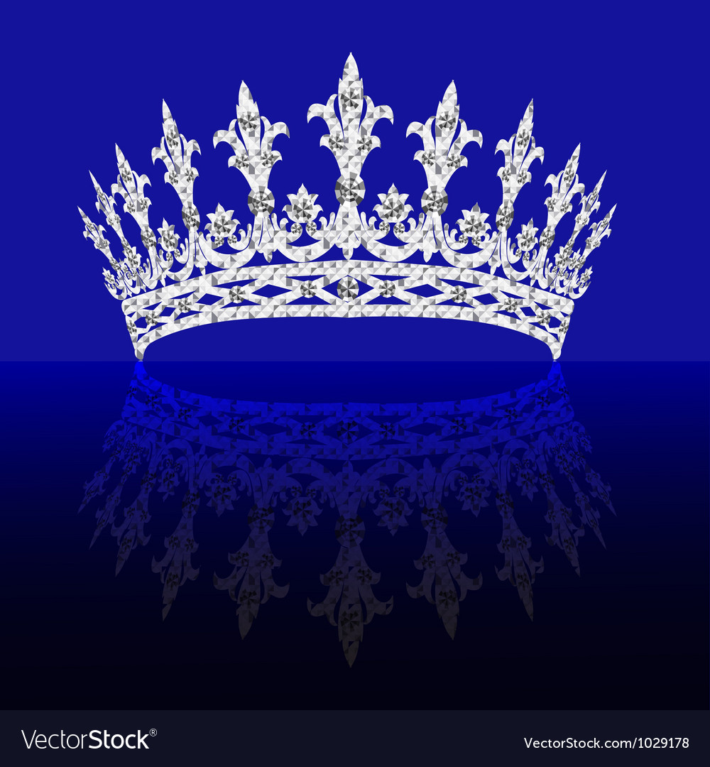 Diadem feminine with reflection on turn blue backg vector