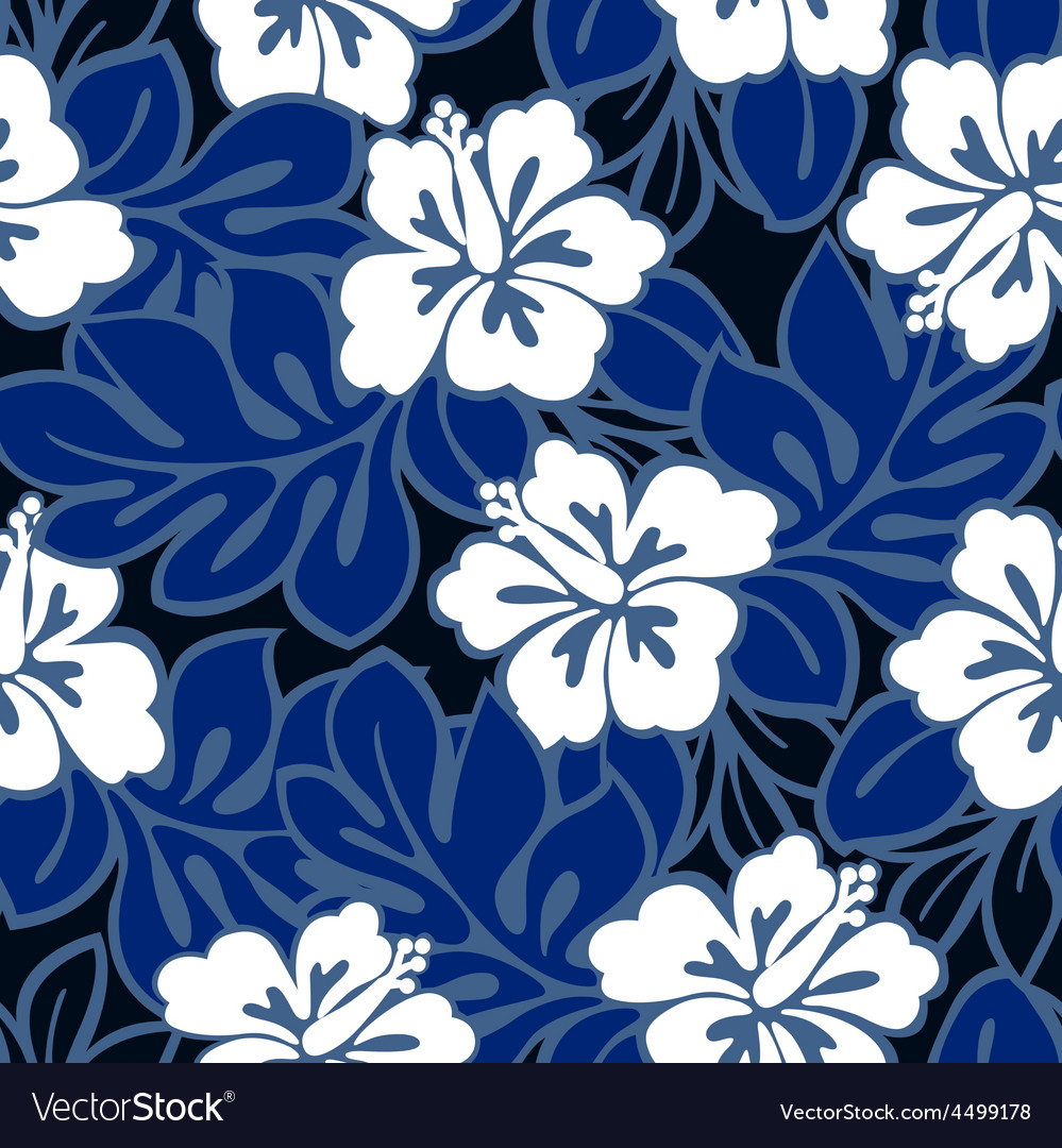 Hibiscus flowers and tropical leaves in a seamless vector | Price: 1 Credit (USD $1)