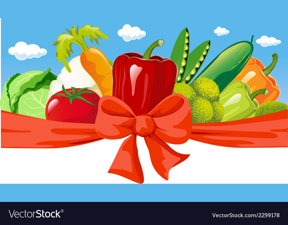 Horizontal design with vegetable bow and blue sky vector | Price: 1 Credit (USD $1)