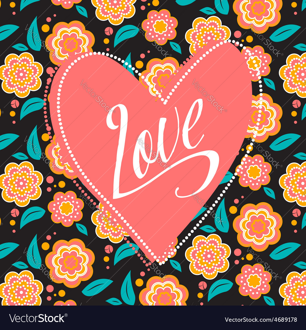 Postcard with heart on dark floral pattern vector   Price: 1 Credit (USD $1)