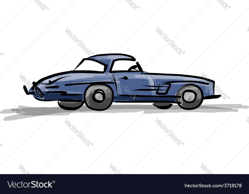 Retro sport car sketch for your design vector | Price: 1 Credit (USD $1)