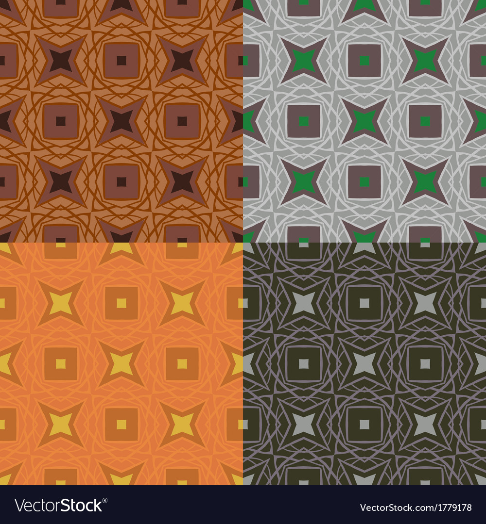 Set of 4 seamless pattern in 1970s style vector | Price: 1 Credit (USD $1)