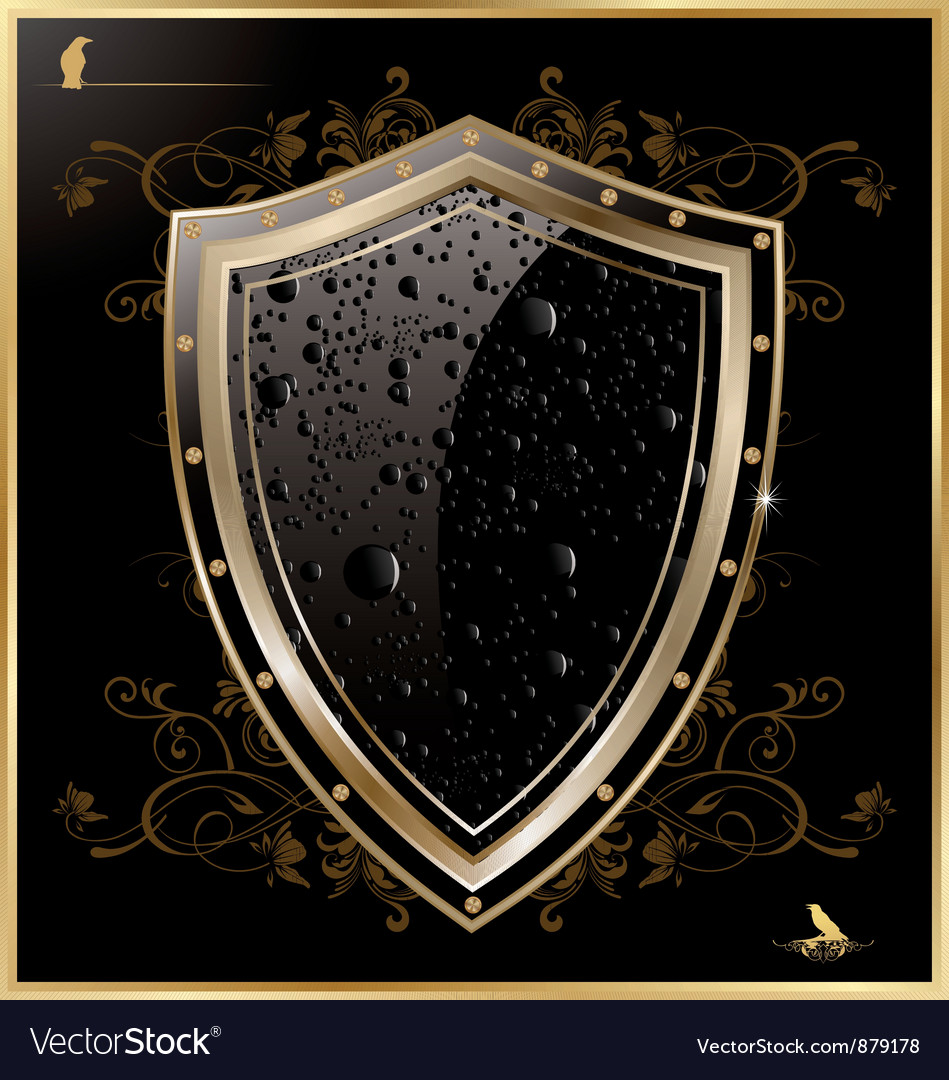 Shield with black water drops vector | Price: 1 Credit (USD $1)