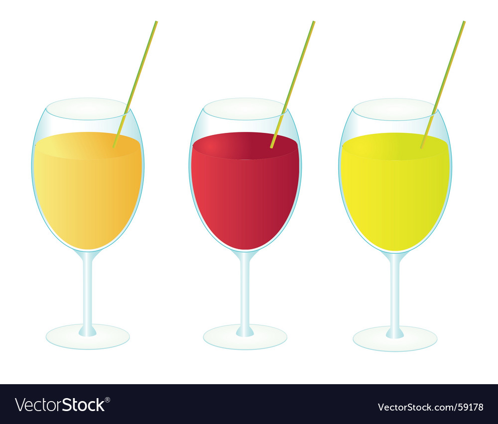 Three glasses of fruit juice vector | Price: 1 Credit (USD $1)