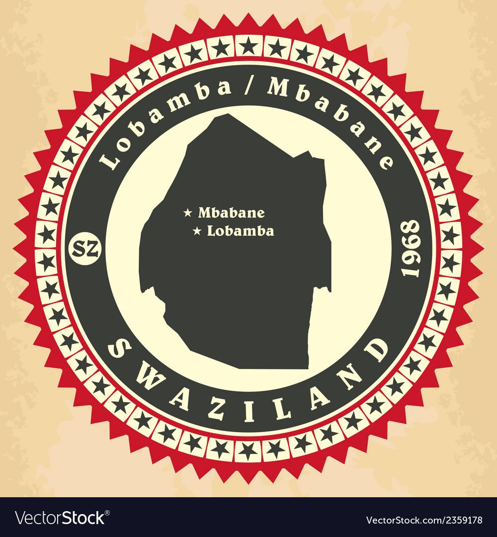 Vintage label-sticker cards of swaziland vector | Price: 1 Credit (USD $1)