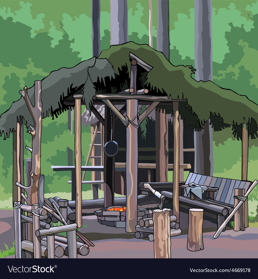 Wooden structure in the woods vector   Price: 3 Credit (USD $3)