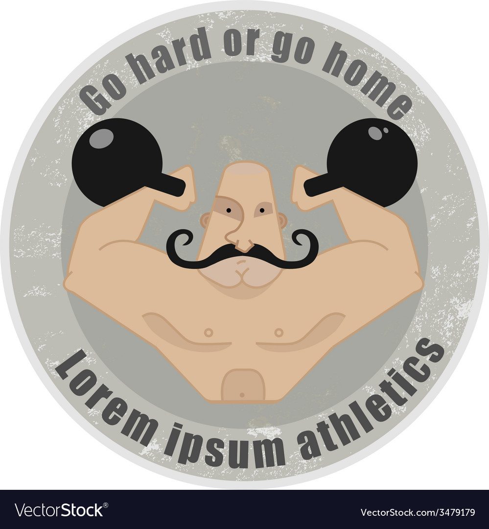 Athletic emblem with mustached strongman holding vector | Price: 1 Credit (USD $1)