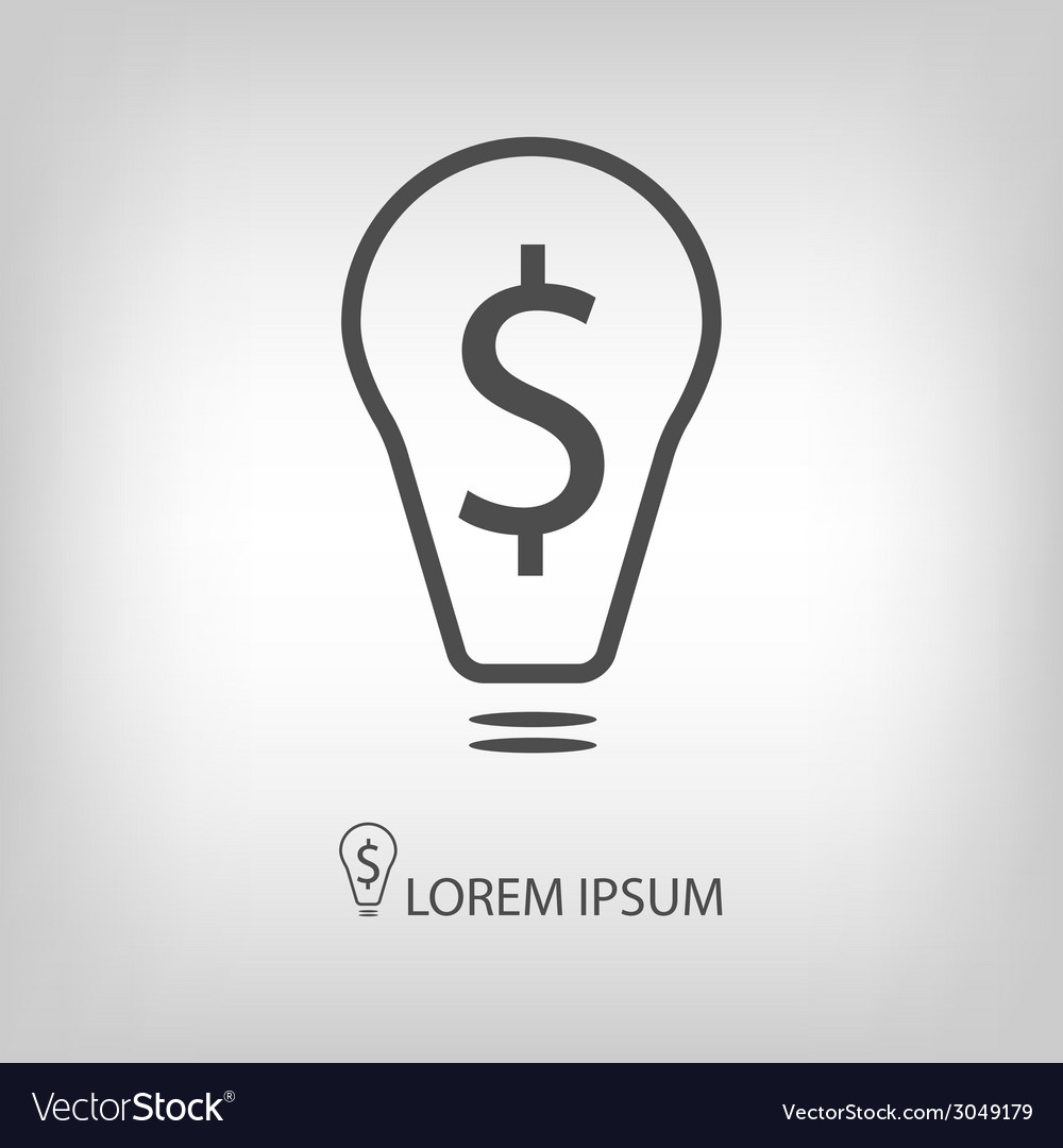 Bulb with dollar as business idea sign vector | Price: 1 Credit (USD $1)