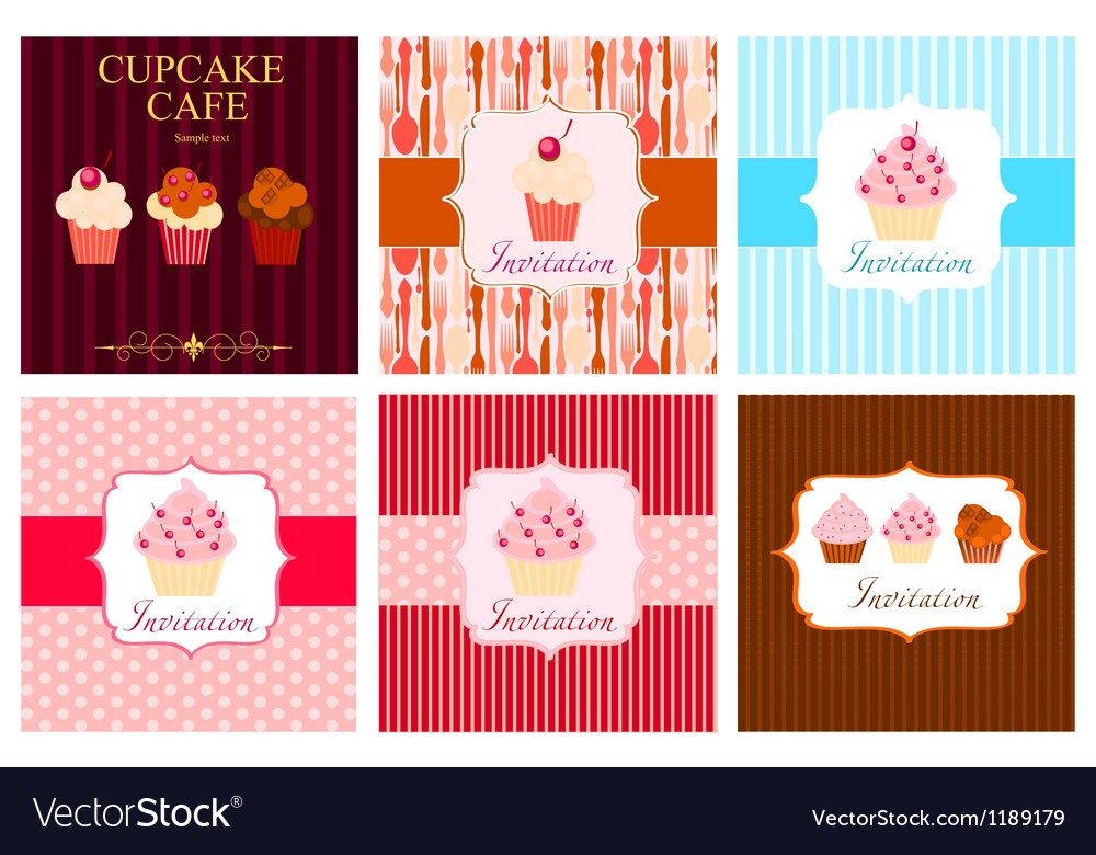 The concept of cupcakes cafe menu vector | Price: 1 Credit (USD $1)