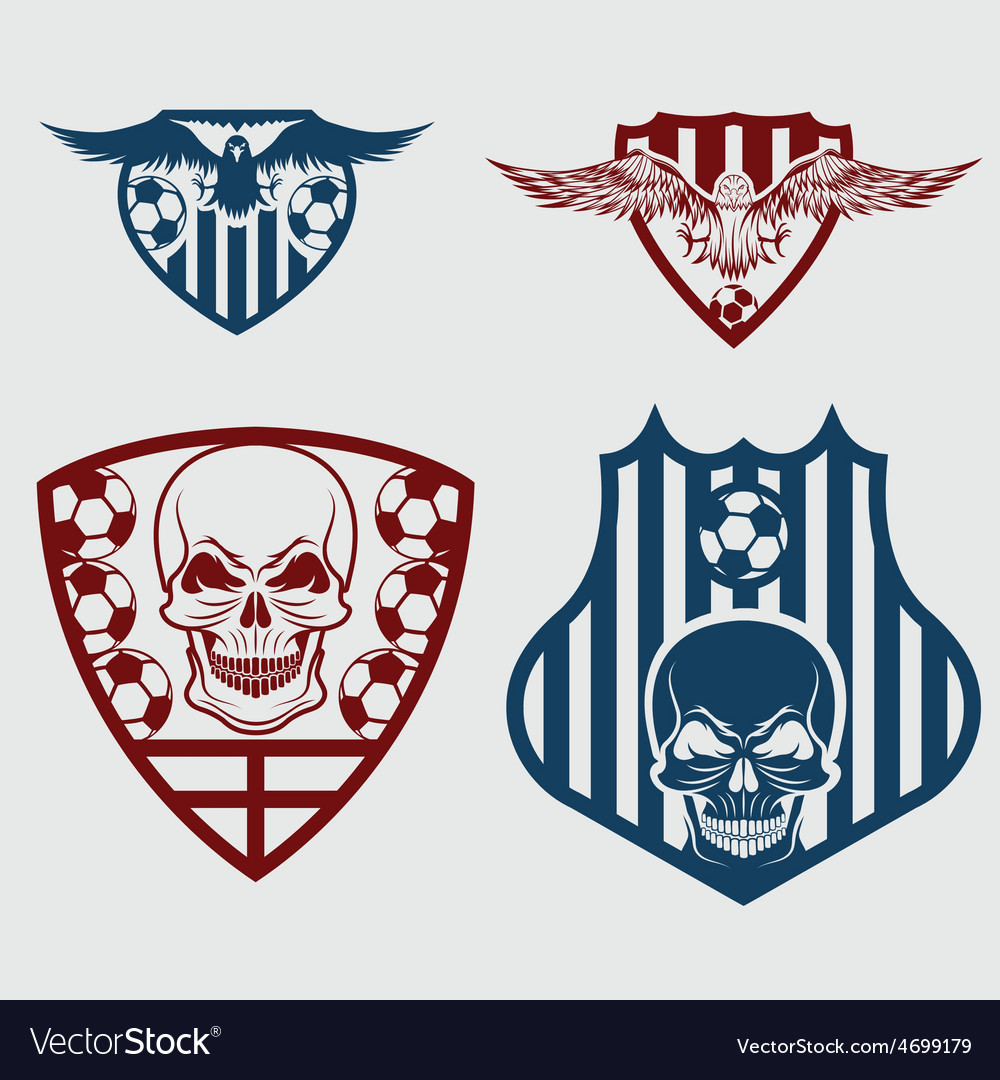 Football team crests set with eagles and skulls vector   Price: 1 Credit (USD $1)