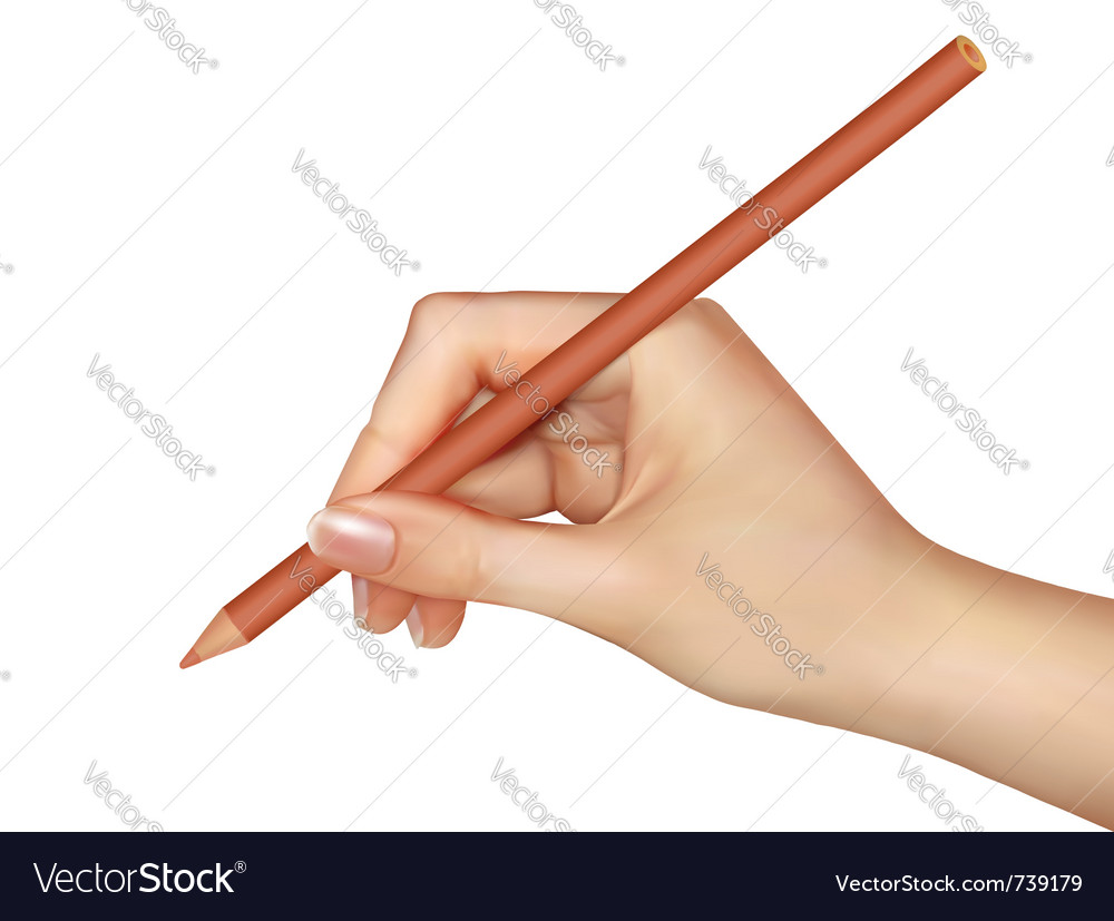 Hand with pen writing on paper vector | Price: 3 Credit (USD $3)