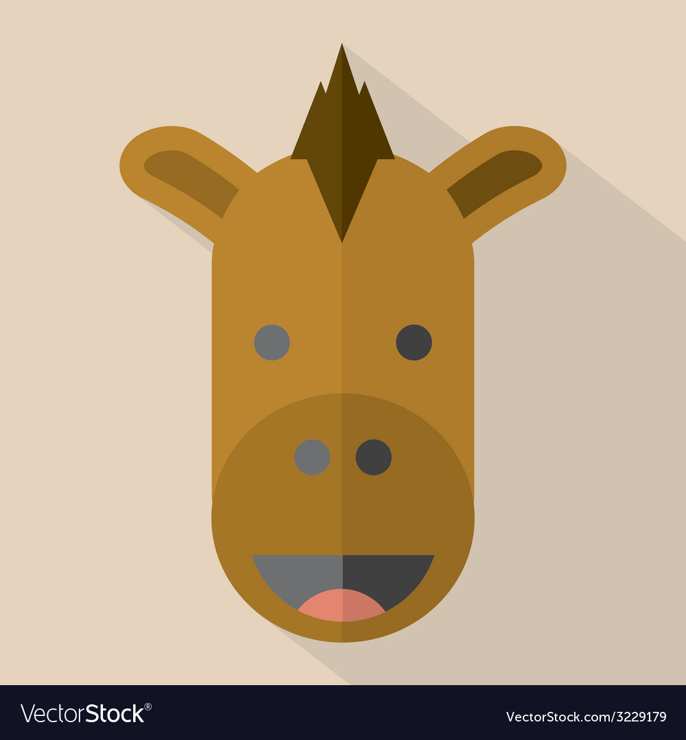 Modern flat design horse icon vector | Price: 1 Credit (USD $1)