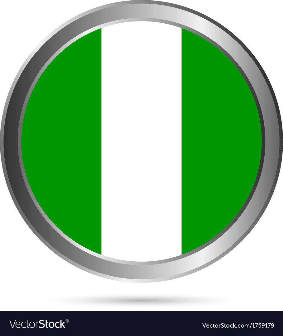 Nigeria flag button vector | Price: 1 Credit (USD $1)