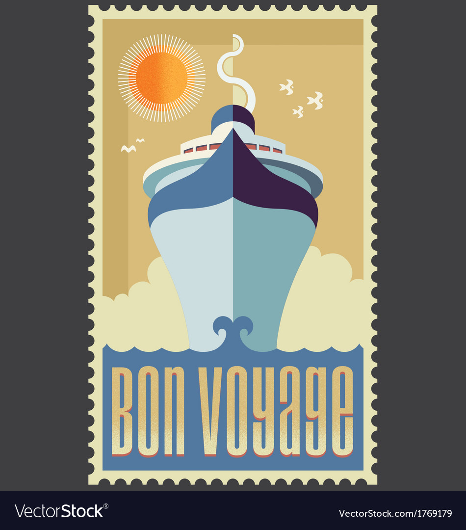 Retro vintage retro cruise ship design vector | Price: 1 Credit (USD $1)