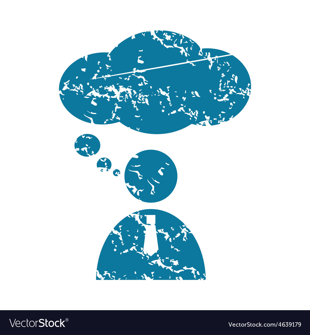 Thinking person grunge icon vector | Price: 1 Credit (USD $1)