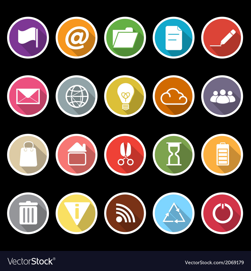 Web and internet icons with long shadow vector | Price: 1 Credit (USD $1)
