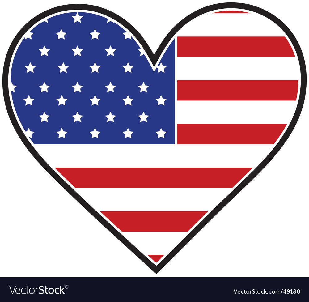 American heart flag vector | Price: 1 Credit (USD $1)
