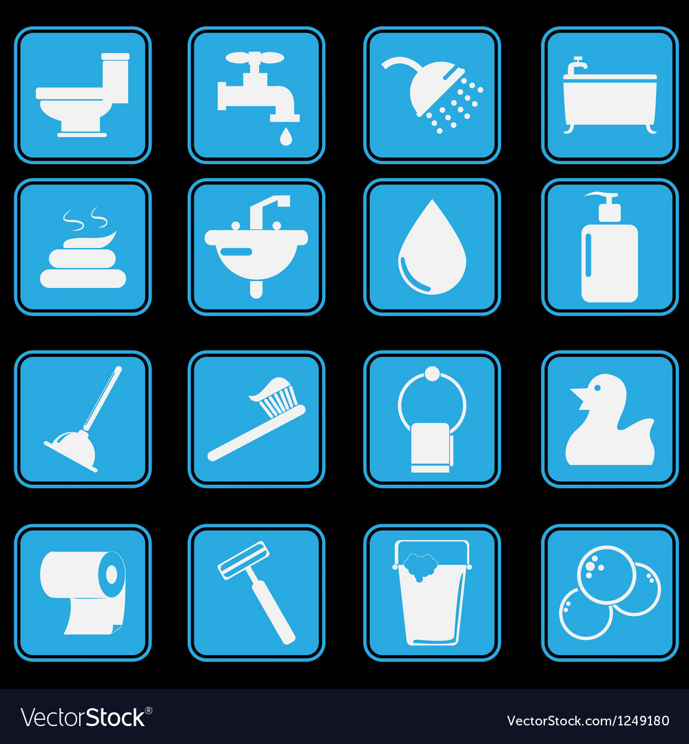 Bathroom and toilet icon set basic style vector | Price: 1 Credit (USD $1)