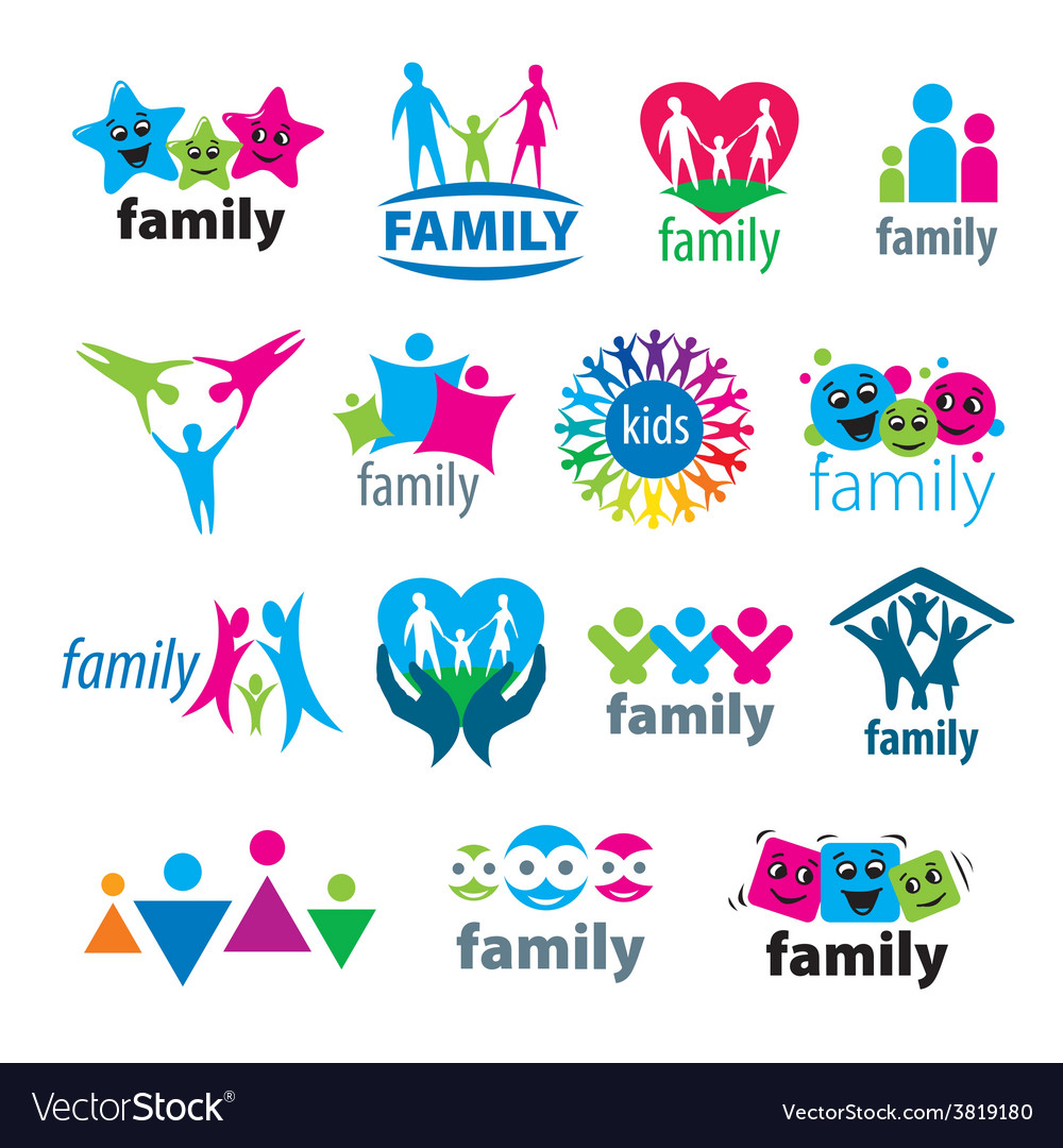 Big set of logos family vector