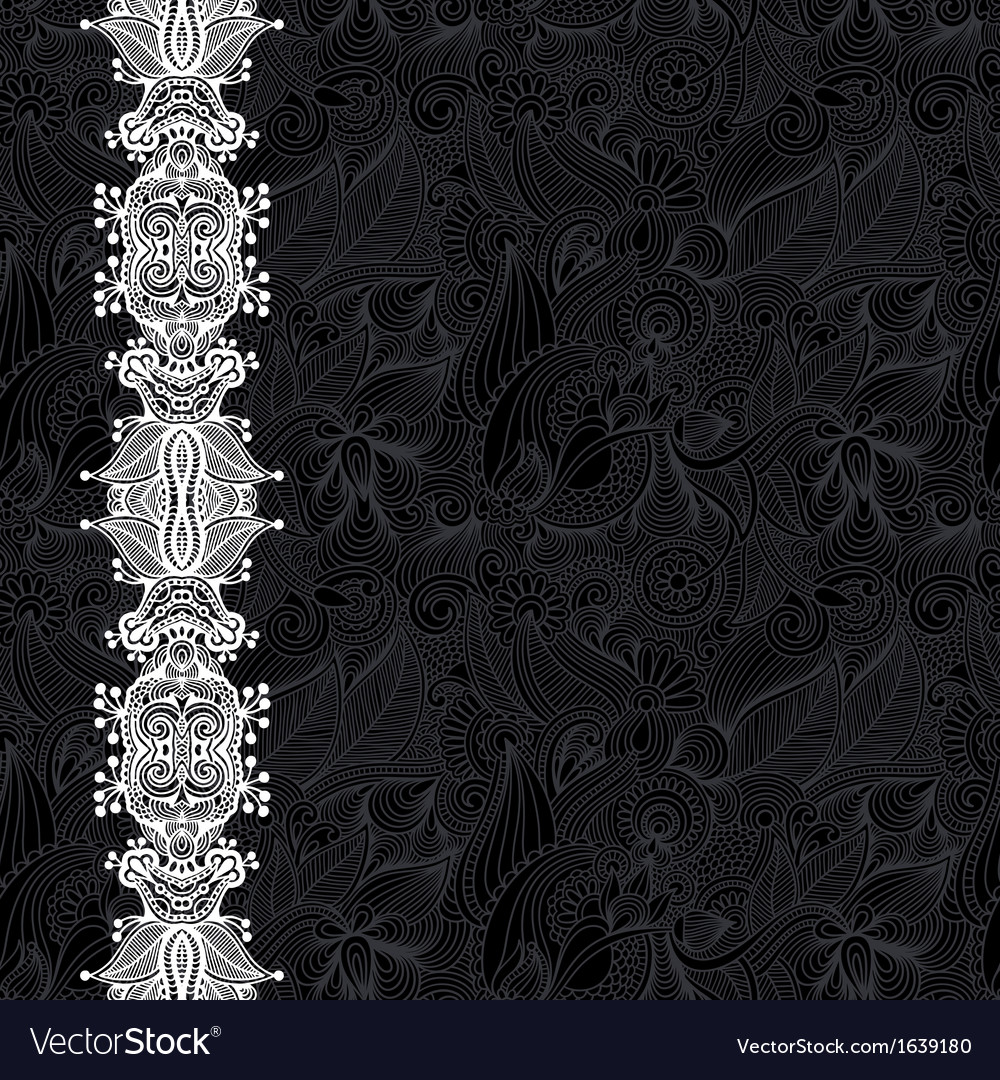 Black and white ornate floral background vector | Price: 1 Credit (USD $1)
