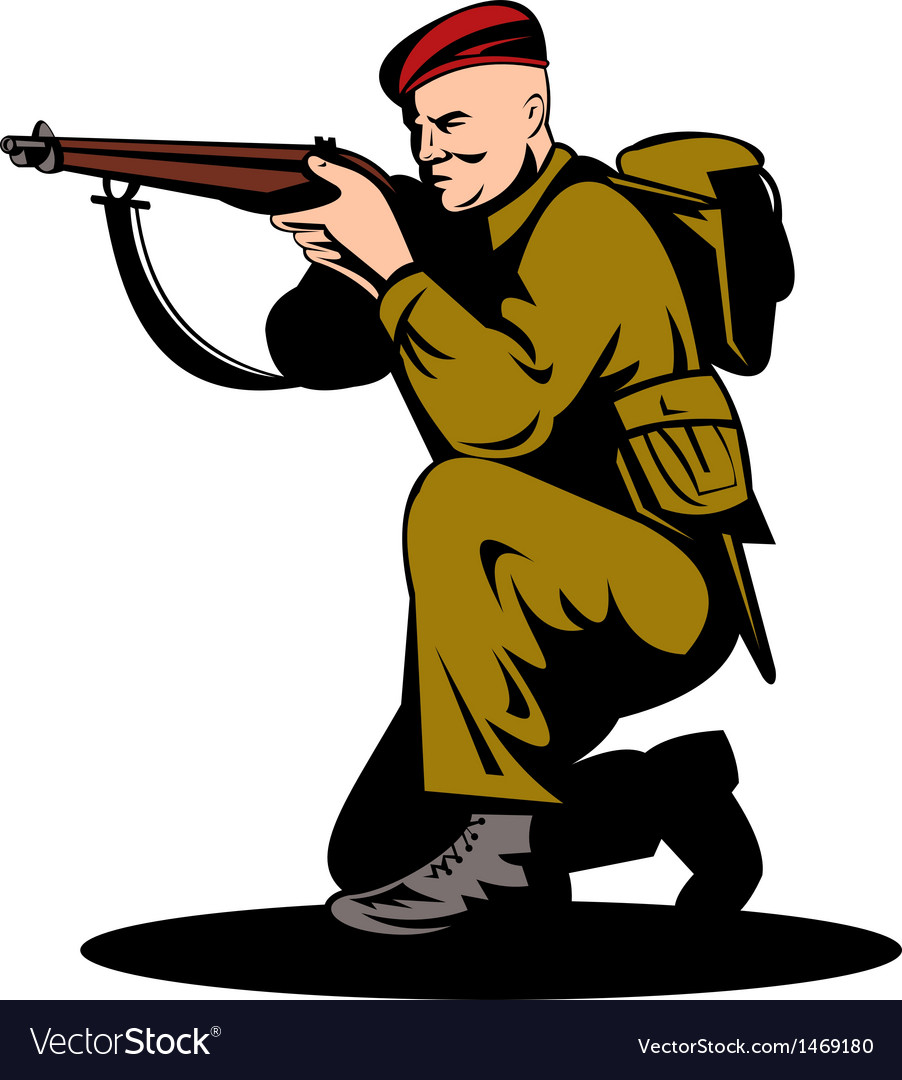 British world war two soldier aiming rifle vector | Price: 1 Credit (USD $1)