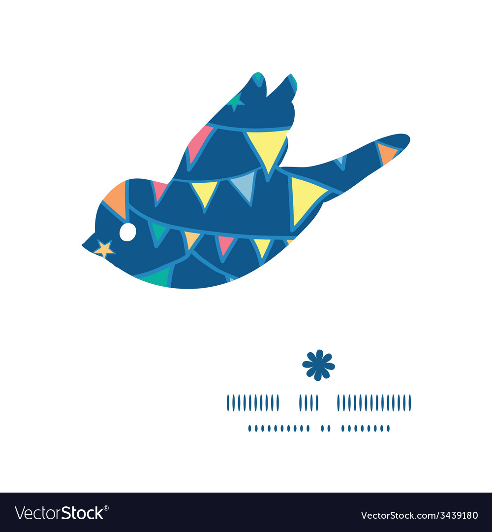 Colorful doodle bunting flags bird silhouette vector | Price: 1 Credit (USD $1)