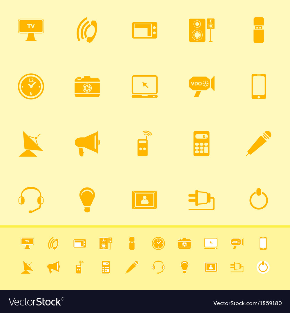 Electronic color icon on yellow background vector | Price: 1 Credit (USD $1)