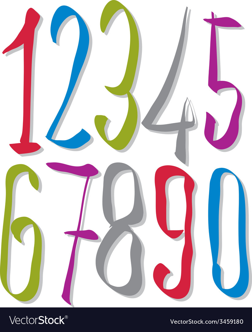 Hand written fresh numbers stylish drawn numbers vector | Price: 1 Credit (USD $1)