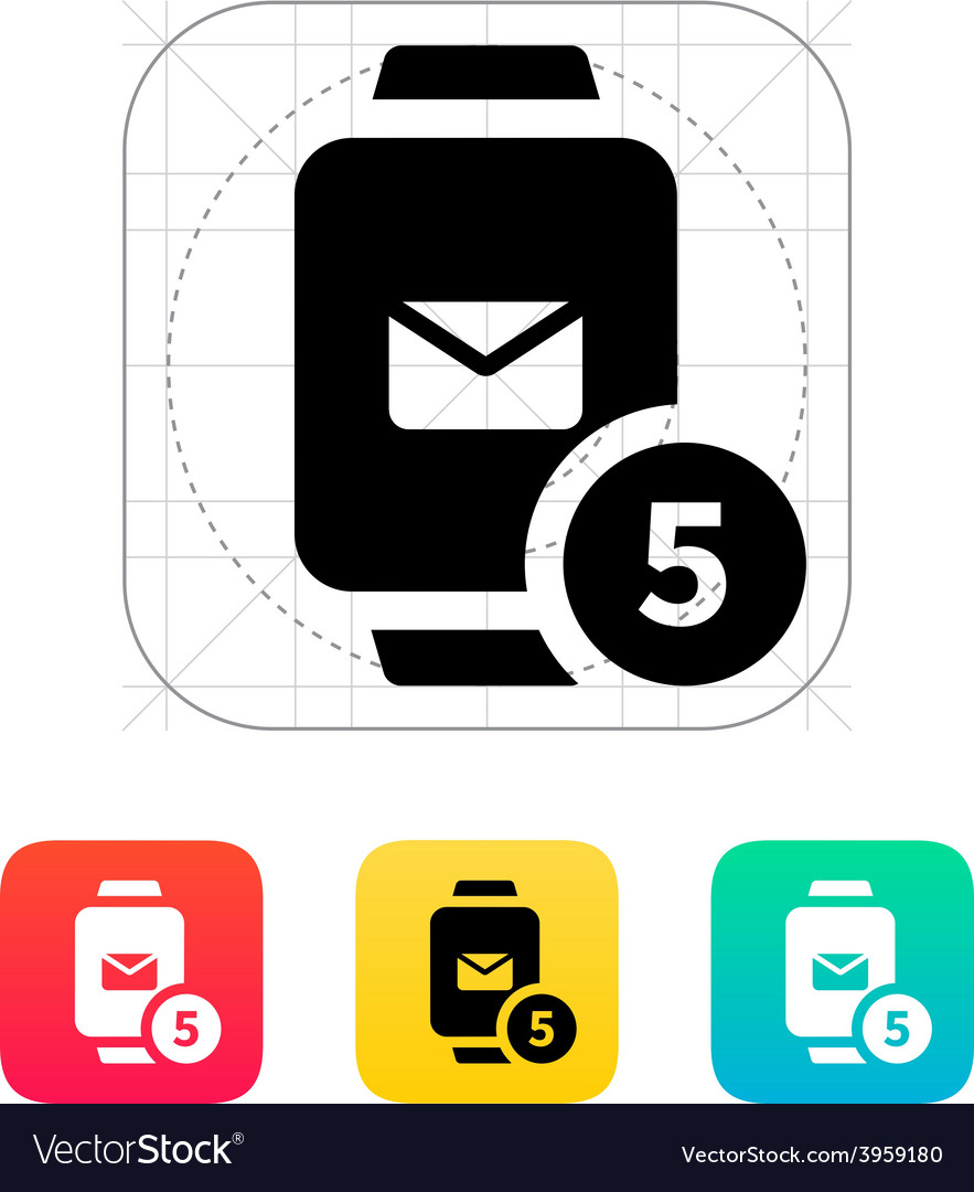 Mail notification on smart watches icon vector | Price: 1 Credit (USD $1)