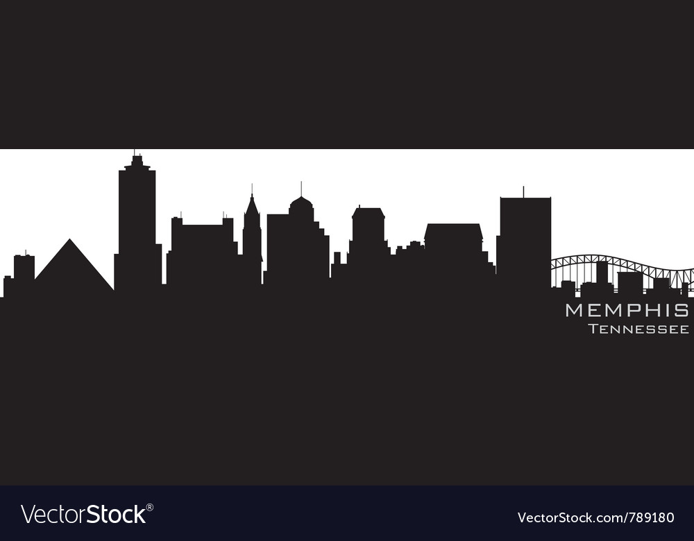 Memphis tennessee skyline detailed silhouette vector | Price: 1 Credit (USD $1)