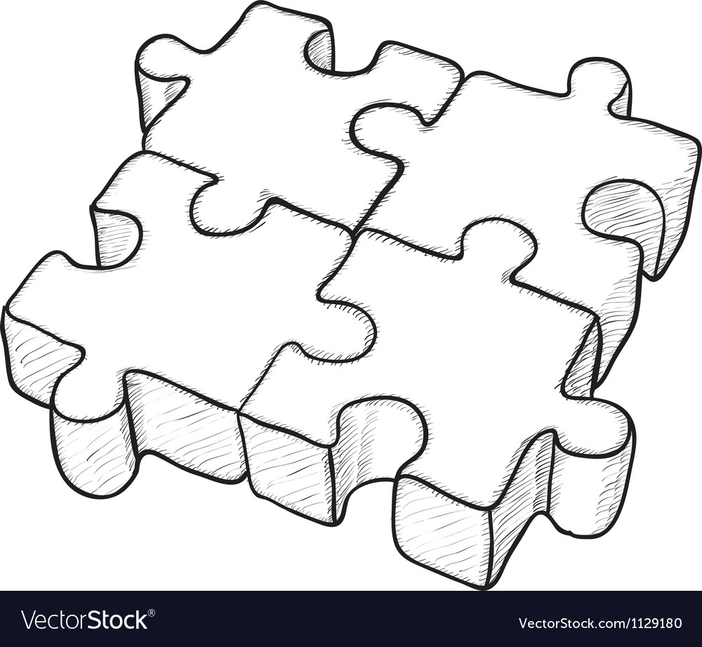 Monochrome puzzle elements vector | Price: 1 Credit (USD $1)