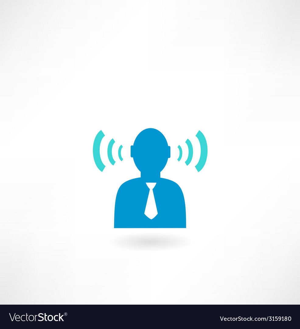 People icon with radio waves vector | Price: 1 Credit (USD $1)