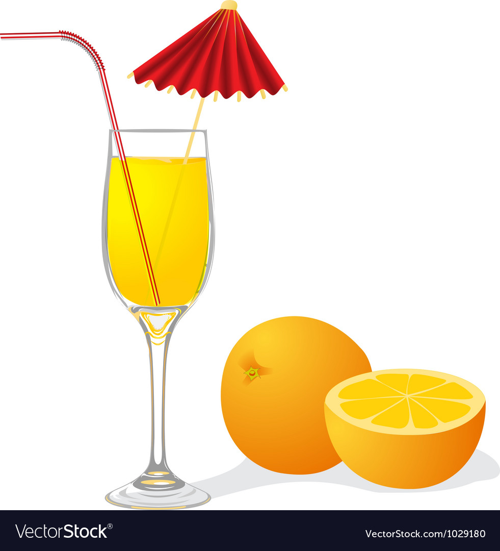 Ripe orange and goblet of juice vector | Price: 1 Credit (USD $1)