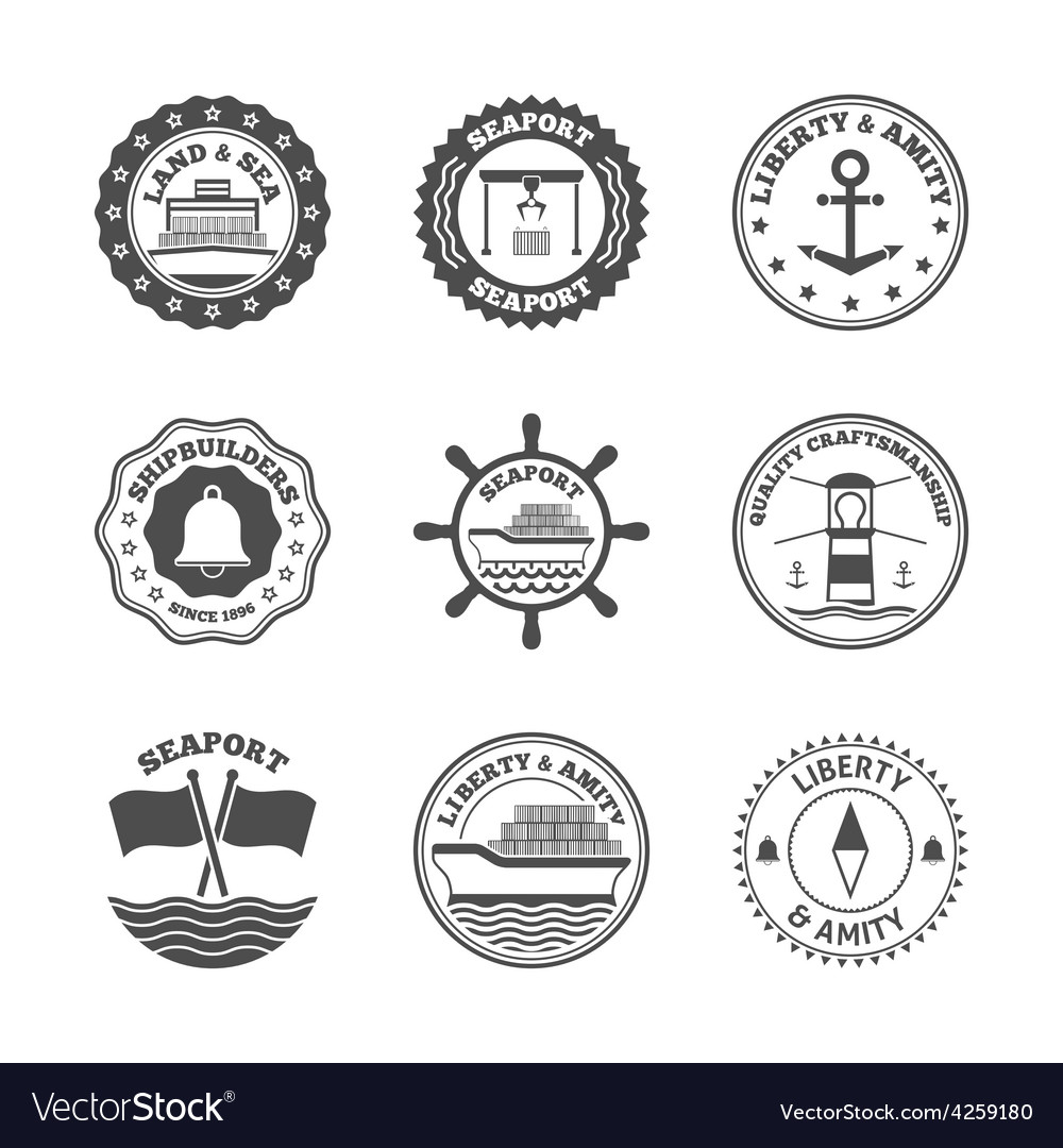 Sea port label set vector | Price: 1 Credit (USD $1)