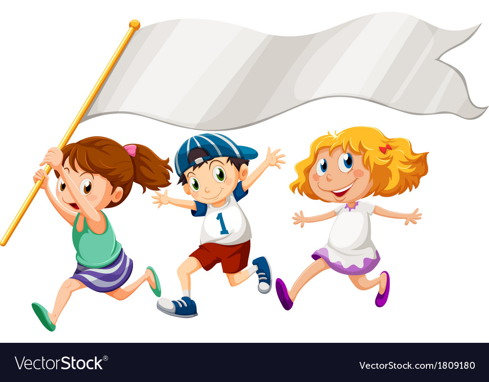 Three kids running with an empty banner vector | Price: 1 Credit (USD $1)