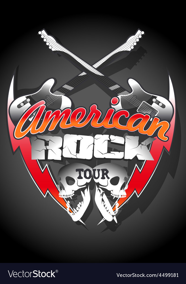 American rock tour with skulls under a spot light vector | Price: 1 Credit (USD $1)