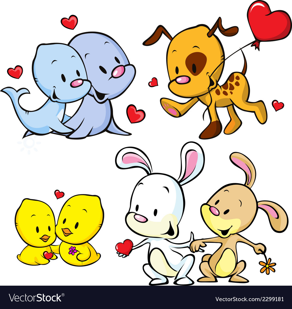 Animals celebrate valentines day vector | Price: 1 Credit (USD $1)