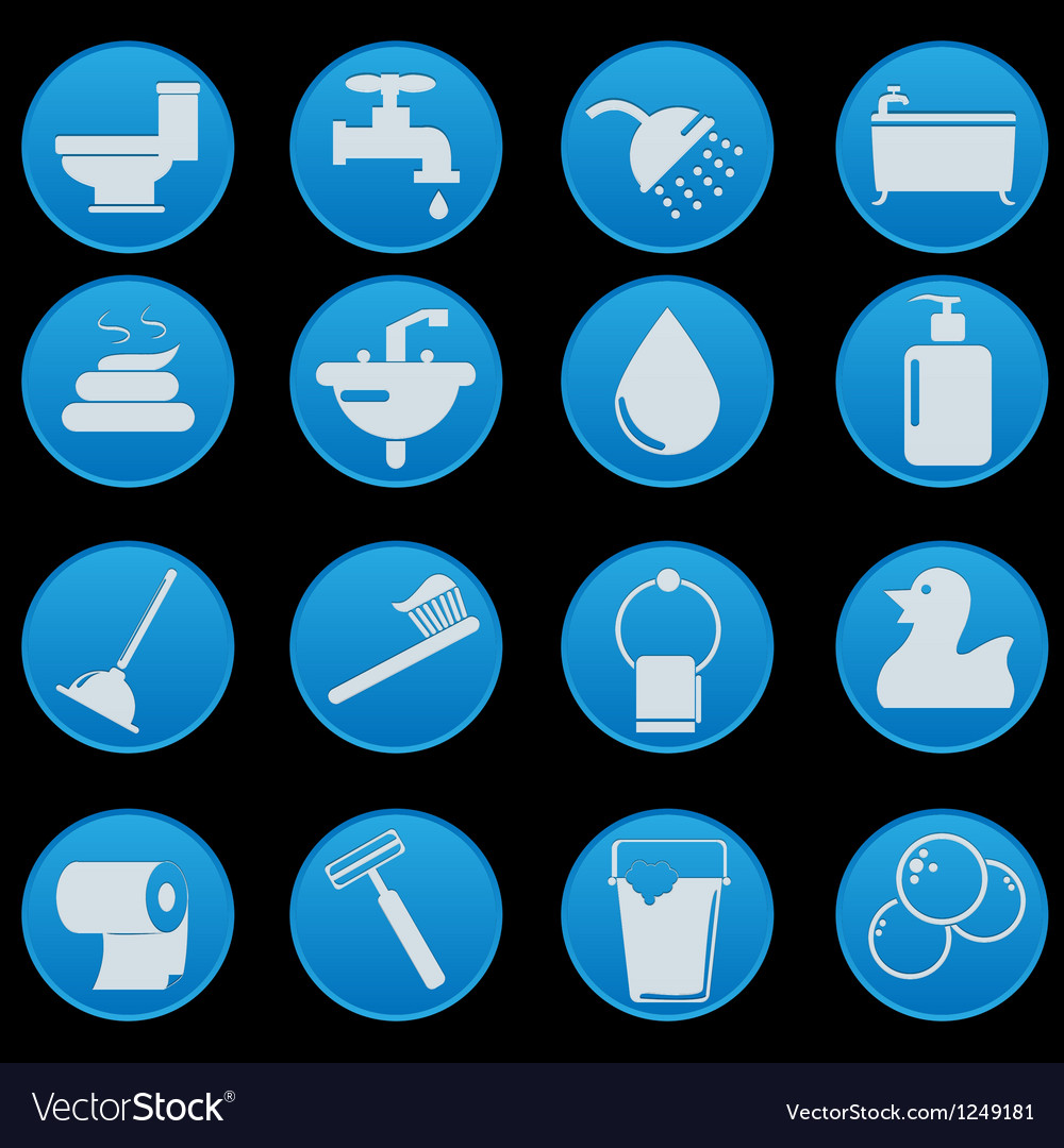 Bathroom and toilet icon set gradient style vector | Price: 1 Credit (USD $1)