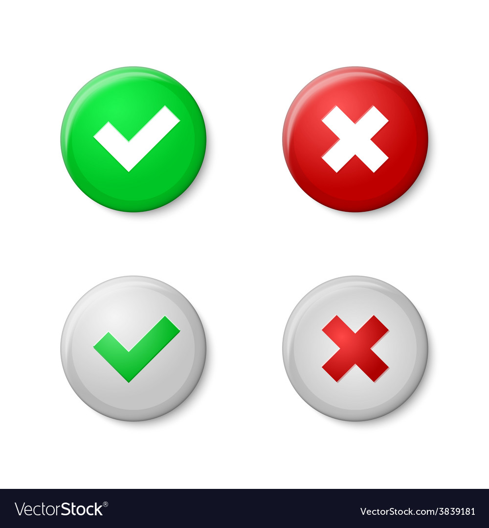 Check marks realistic buttons style with gloss vector | Price: 1 Credit (USD $1)
