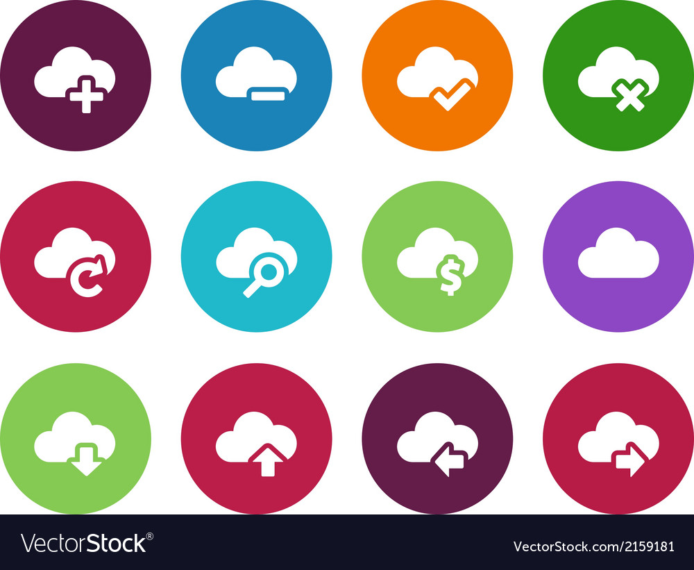 Cloud circle icons on white background vector | Price: 1 Credit (USD $1)