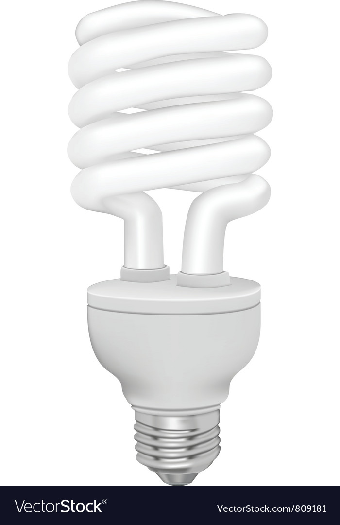 Energy saving fluorescent light bulb on white vector | Price: 1 Credit (USD $1)