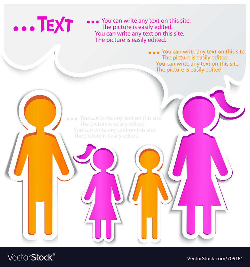 Family talking paper bubbles for speech vector | Price: 1 Credit (USD $1)