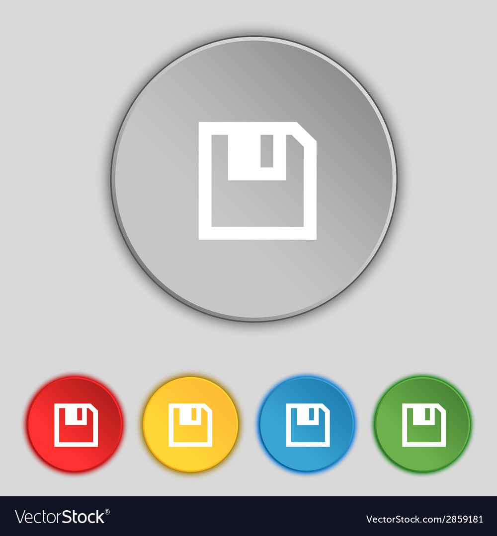 Floppy icon flat modern design set colour buttons vector | Price: 1 Credit (USD $1)